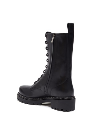 - RENÉ CAOVILLA - Strass embellished midsole combat boots