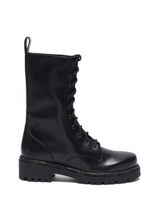 Main View - Click To Enlarge - RENÉ CAOVILLA - Strass embellished midsole combat boots