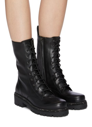 Figure View - Click To Enlarge - RENÉ CAOVILLA - Strass embellished midsole combat boots