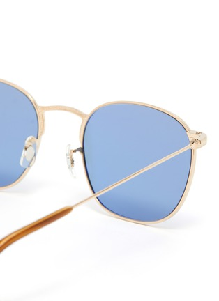 Detail View - Click To Enlarge - OLIVER PEOPLES ACCESSORIES - 'Goldsen Sun' Contrast Temple Carved Titanium Frame Sunglasses