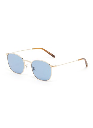 Main View - Click To Enlarge - OLIVER PEOPLES ACCESSORIES - 'Goldsen Sun' Contrast Temple Carved Titanium Frame Sunglasses