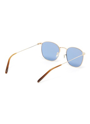 Figure View - Click To Enlarge - OLIVER PEOPLES ACCESSORIES - 'Goldsen Sun' Contrast Temple Carved Titanium Frame Sunglasses