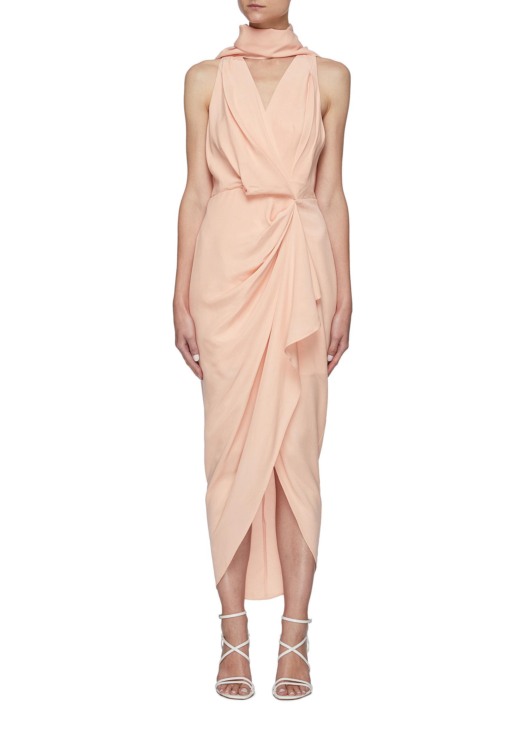 'Daleside' Front Twist Mock Neck Scarf Detail Dress