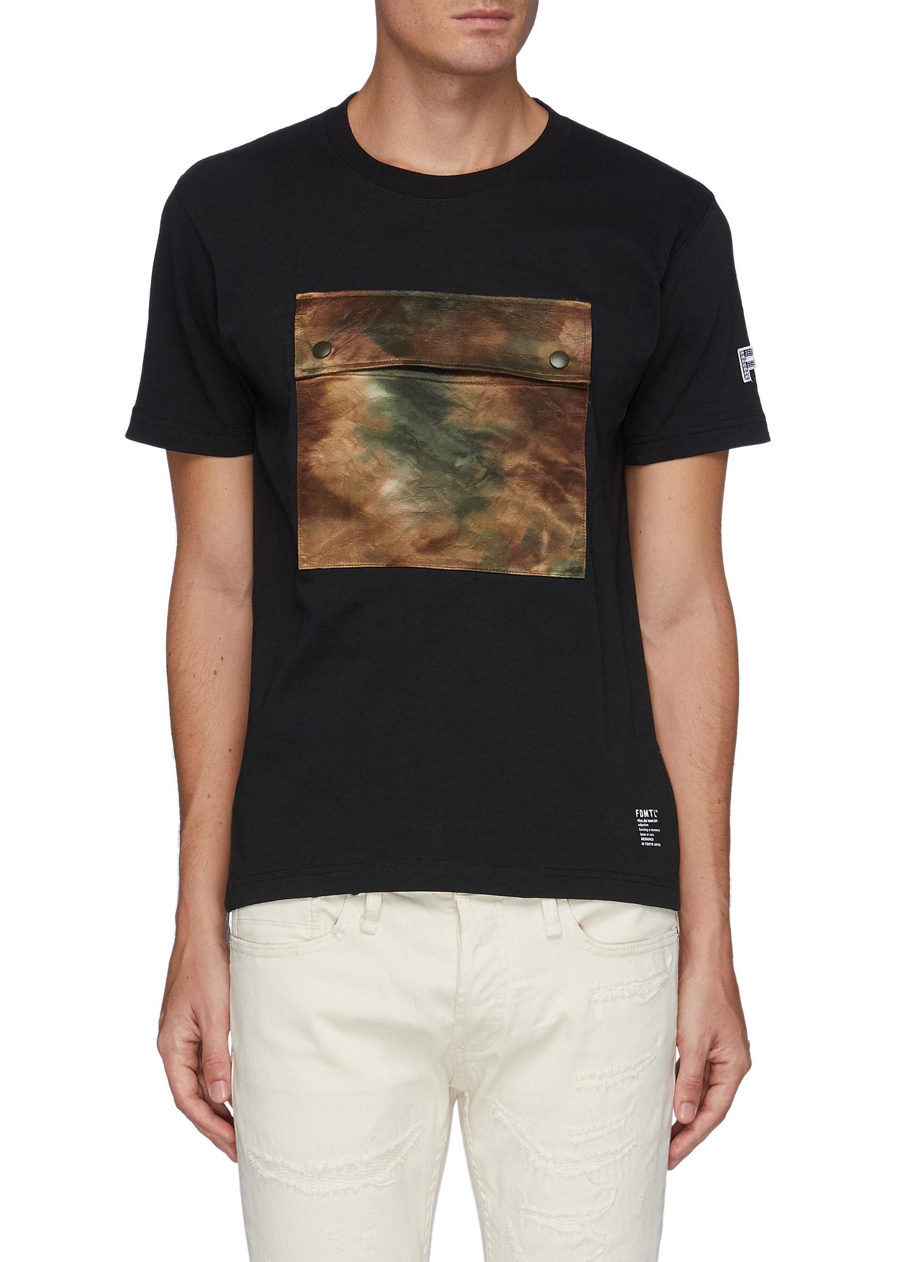 Tie Dye Snap Front Pocket Crewneck Cotton T-shirt