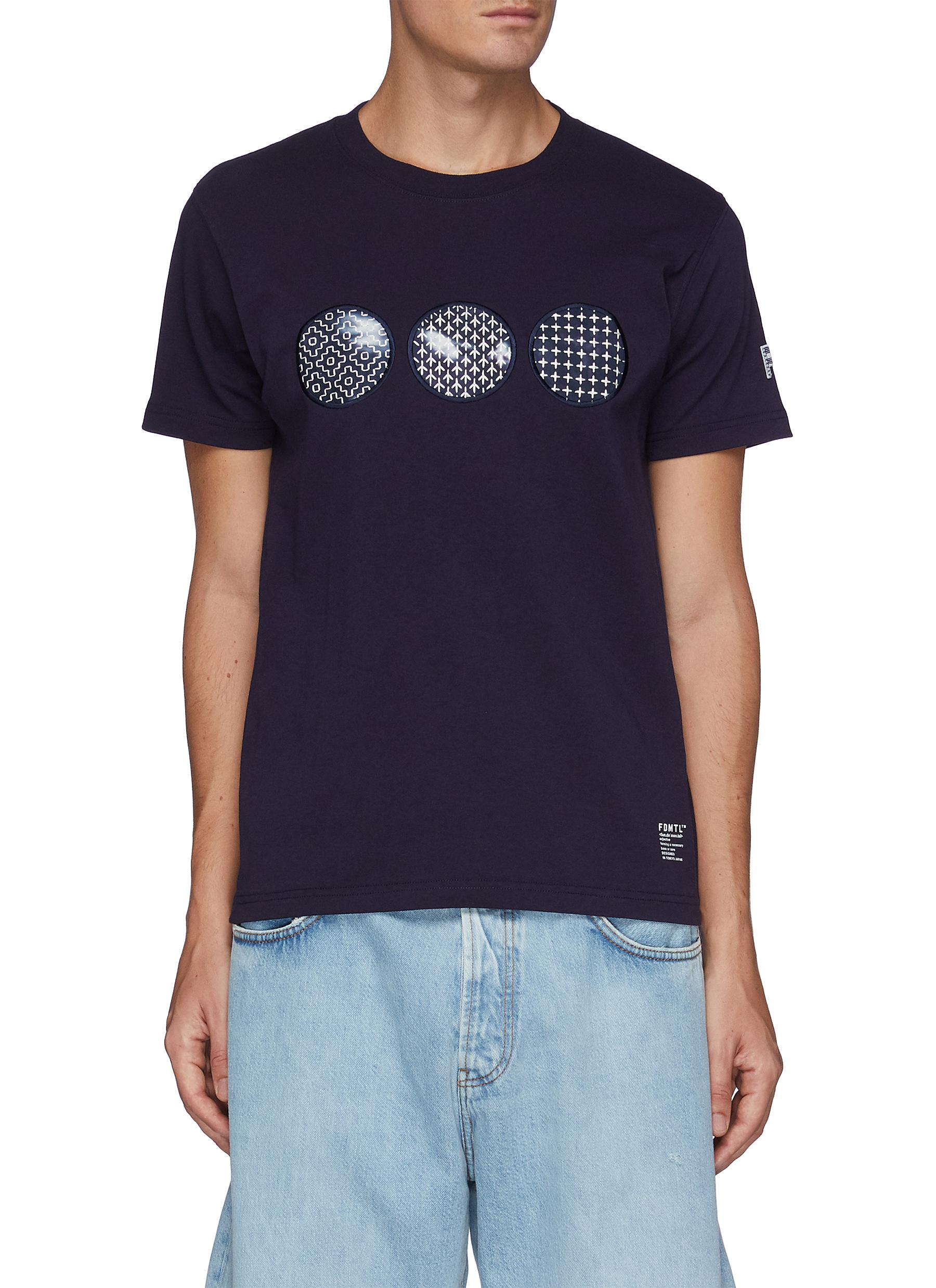 Sashiko Circle Patch Crewneck Cotton T-shirt