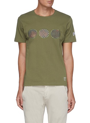 Main View - Click To Enlarge - FDMTL - Sashiko Circle Patch Crewneck Cotton T-shirt