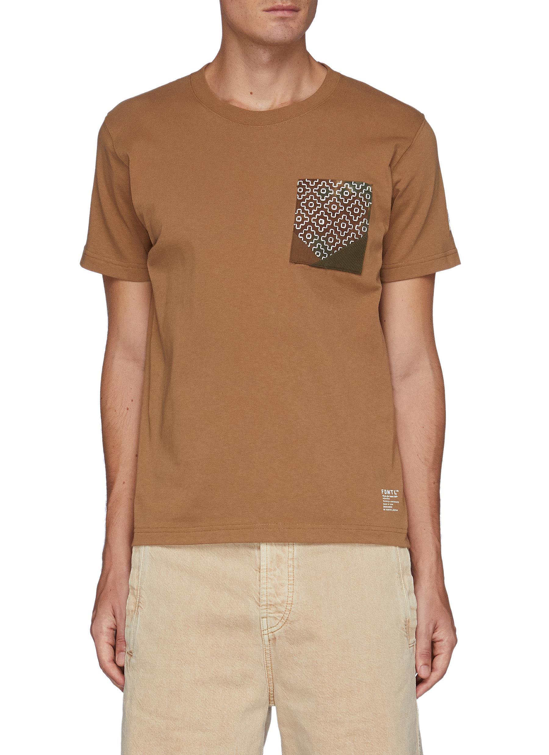 Sashiko Chest Patch Crewneck Cotton T-shirt