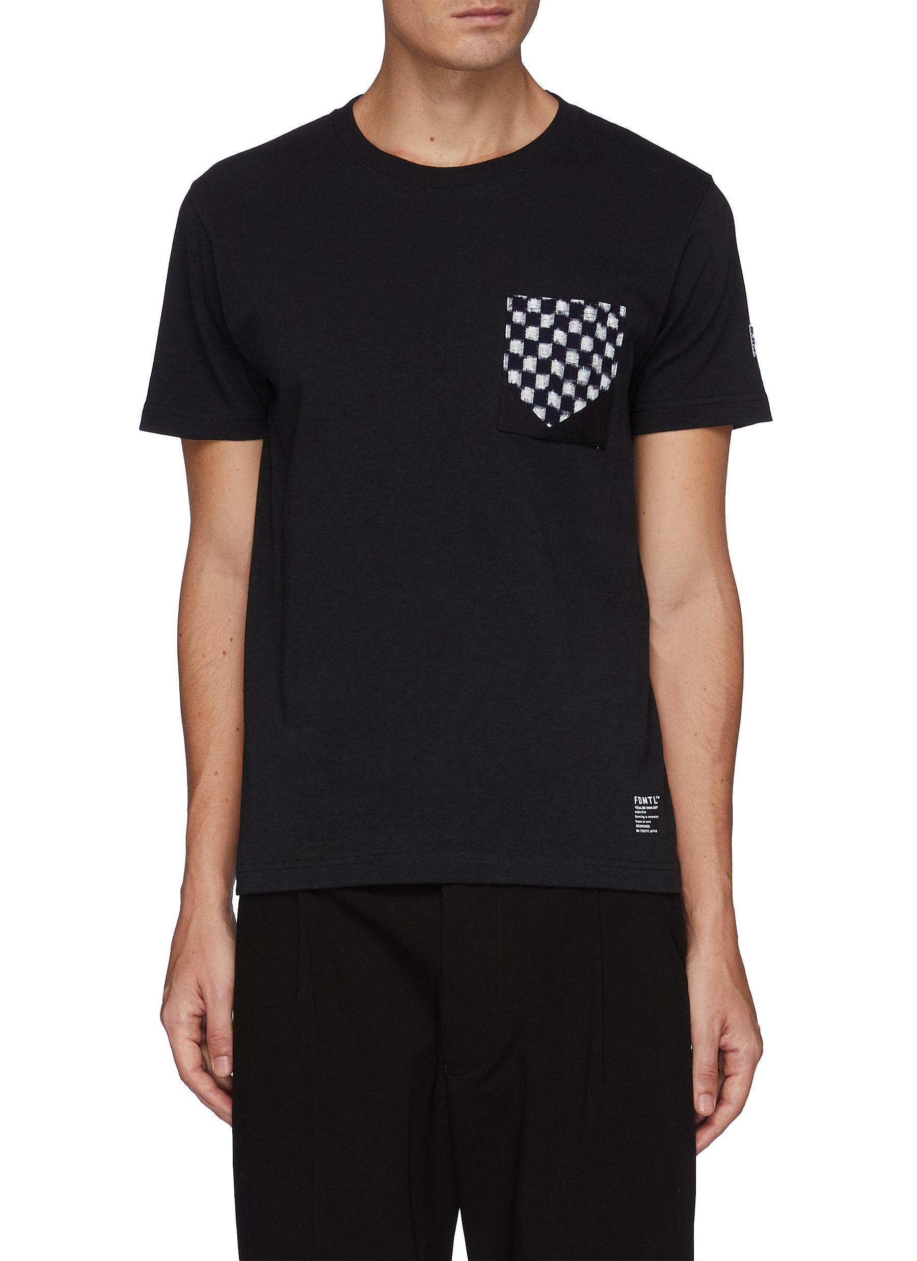Blurred Check Chest Patch Crewneck Cotton T-shirt