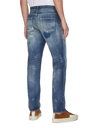 Back View - Click To Enlarge - FDMTL - Geometric Patch Distress Detail Tie-Dye Jeans
