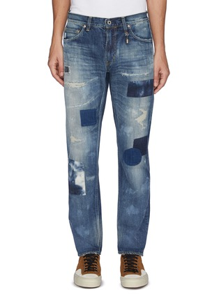 Main View - Click To Enlarge - FDMTL - Geometric Patch Distress Detail Tie-Dye Jeans