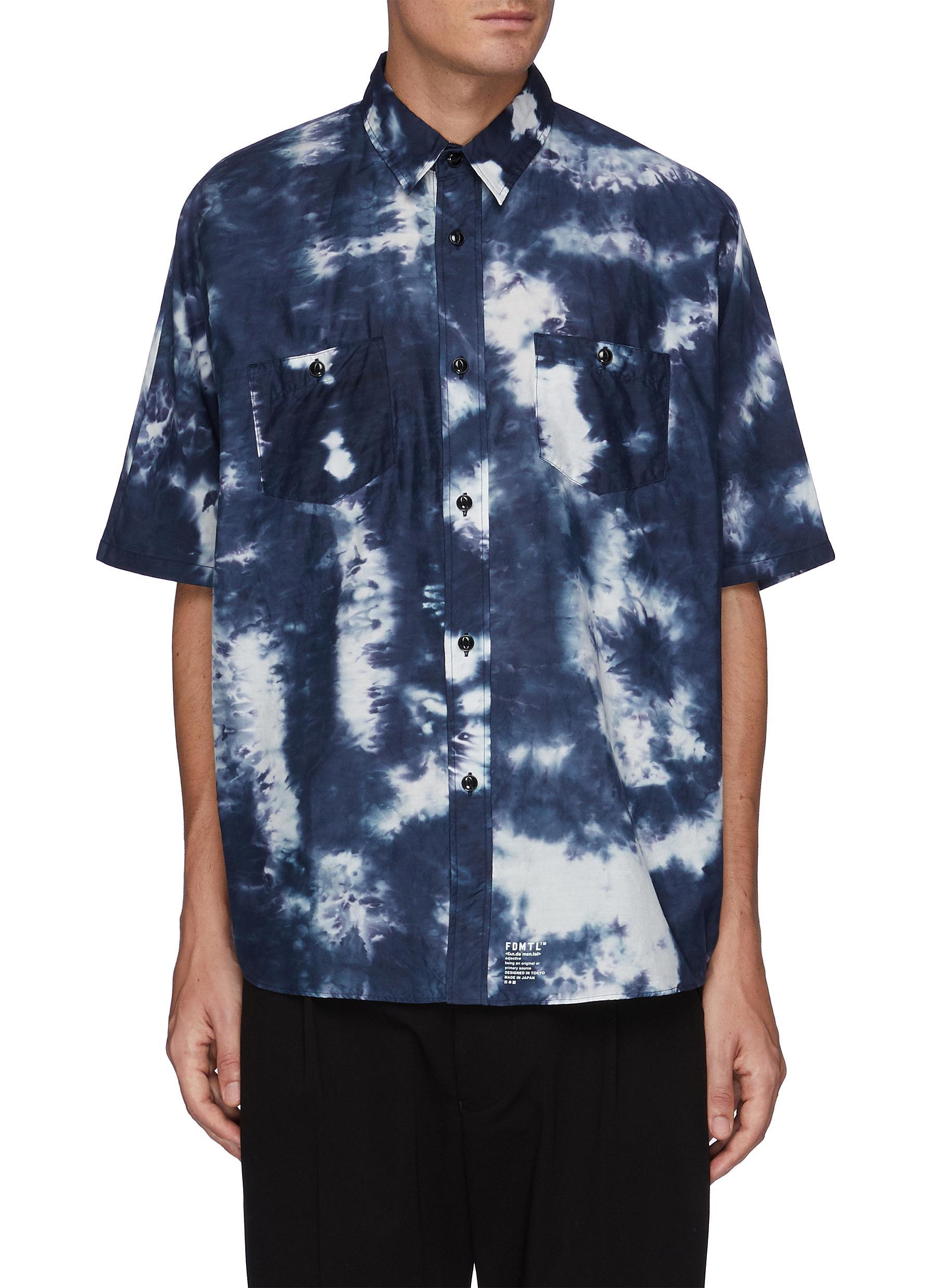Tie Dye Short Sleeve Oversized Cotton Shirt