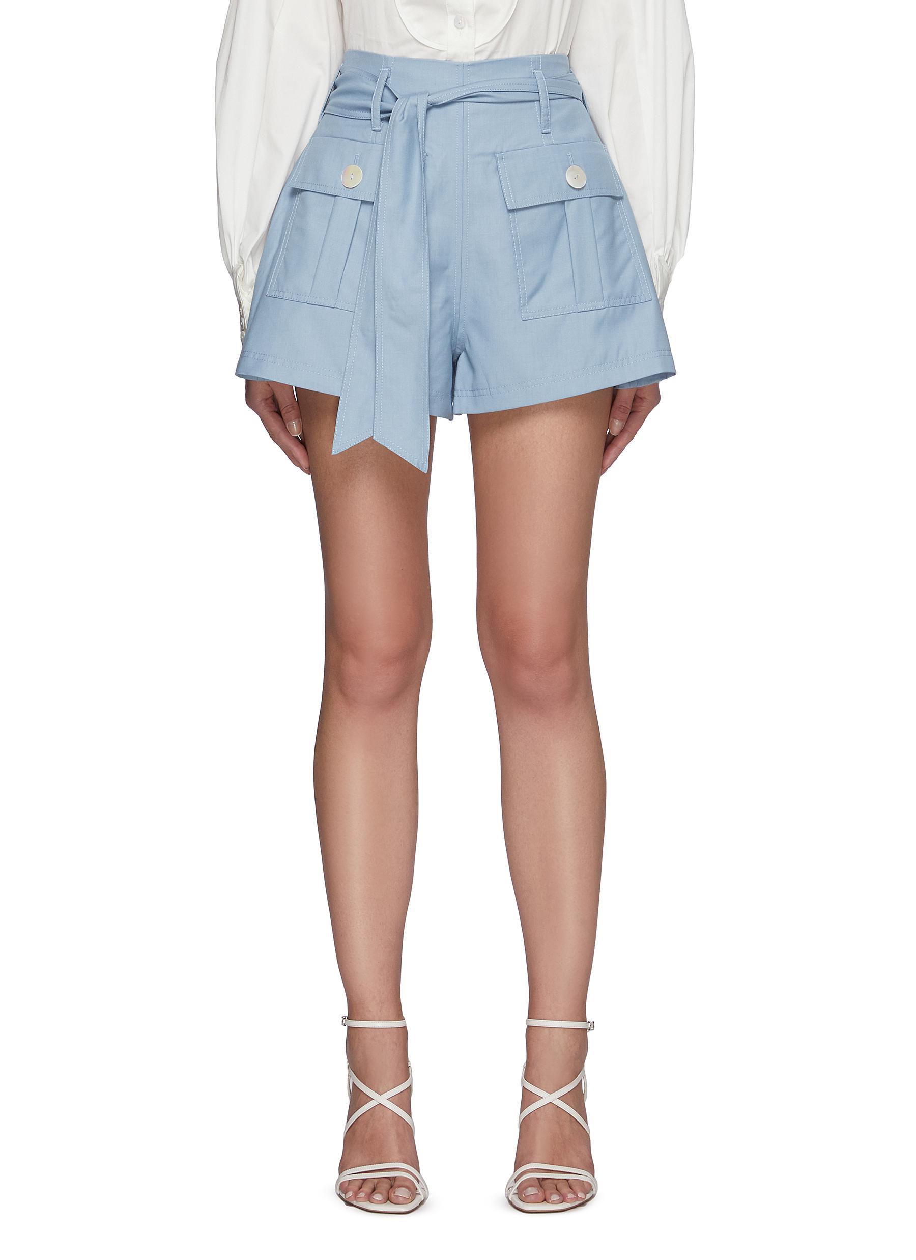 Magnetised' Belted A-line Flap Pocket Shorts