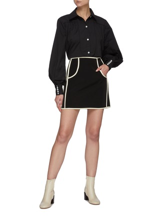Figure View - Click To Enlarge - C/MEO COLLECTIVE - Bell Sleeves Black Shirt