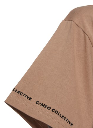 - C/MEO COLLECTIVE - Just Thinking' Logo Embroidered Sleeve Trim Cotton T-shirt