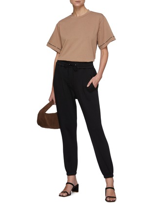 Figure View - Click To Enlarge - C/MEO COLLECTIVE - Just Thinking' Logo Embroidered Sleeve Trim Cotton T-shirt
