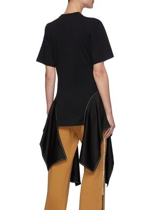 Back View - Click To Enlarge - JW ANDERSON - Satin Drape Hem Cotton T-shirt