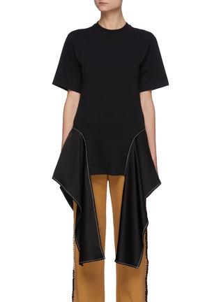 Main View - Click To Enlarge - JW ANDERSON - Satin Drape Hem Cotton T-shirt