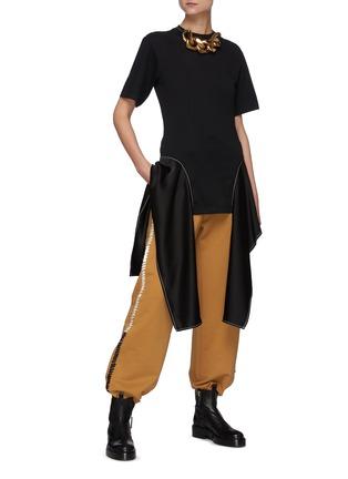 Figure View - Click To Enlarge - JW ANDERSON - Satin Drape Hem Cotton T-shirt