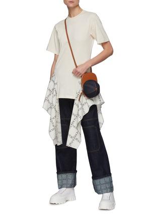 Figure View - Click To Enlarge - JW ANDERSON - Logo Grid Drape Hem Cotton Jersey T-Shirt