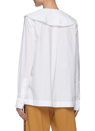 Back View - Click To Enlarge - JW ANDERSON - Oversized Round Collar Cotton Poplin Shirt