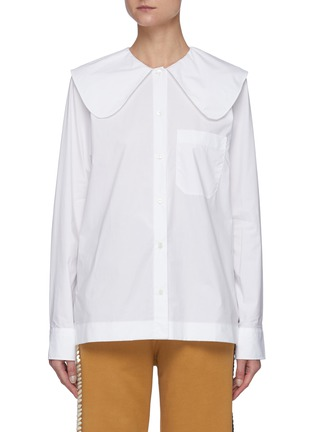 Main View - Click To Enlarge - JW ANDERSON - Oversized Round Collar Cotton Poplin Shirt