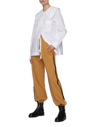 Figure View - Click To Enlarge - JW ANDERSON - Oversized Round Collar Cotton Poplin Shirt
