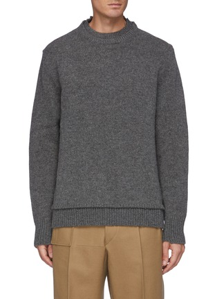 Main View - Click To Enlarge - MAISON MARGIELA - Double Neck Trim Wool Sweater With Elbow Patches