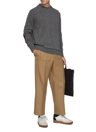 Figure View - Click To Enlarge - MAISON MARGIELA - Double Neck Trim Wool Sweater With Elbow Patches