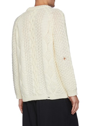 Back View - Click To Enlarge - MAISON MARGIELA - Cable Patterned Wool Sweater With Distressed Hem