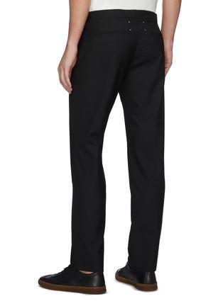 Back View - Click To Enlarge - MAISON MARGIELA - Drawstring Straight Legged Virgin Wool Pants