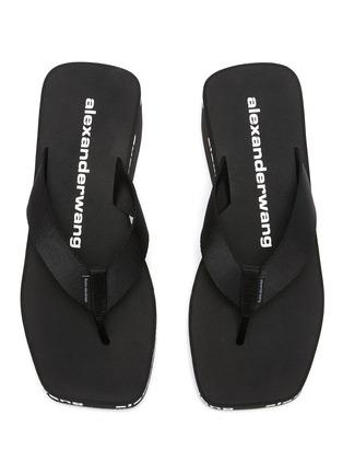 Detail View - Click To Enlarge - ALEXANDERWANG - Square toe logo midsole wedged flip flops