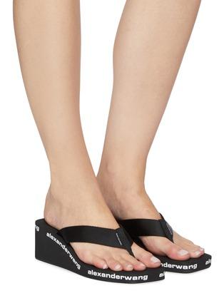 Figure View - Click To Enlarge - ALEXANDERWANG - Square toe logo midsole wedged flip flops