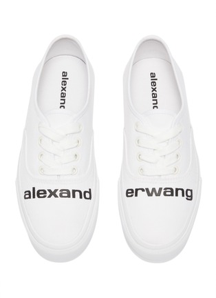 Detail View - Click To Enlarge - ALEXANDERWANG -  ''Dropout' logo print canvas sneakers