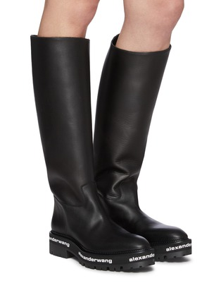 Figure View - Click To Enlarge - ALEXANDERWANG - Sanford' logo midsole leather boots