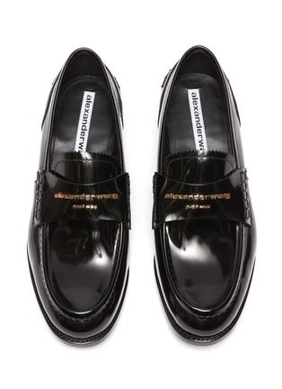 Detail View - Click To Enlarge - ALEXANDERWANG -  ''Carter' logo embossed leather loafers