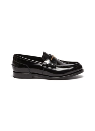 Main View - Click To Enlarge - ALEXANDERWANG -  ''Carter' logo embossed leather loafers