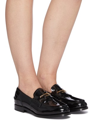 Figure View - Click To Enlarge - ALEXANDERWANG -  ''Carter' logo embossed leather loafers