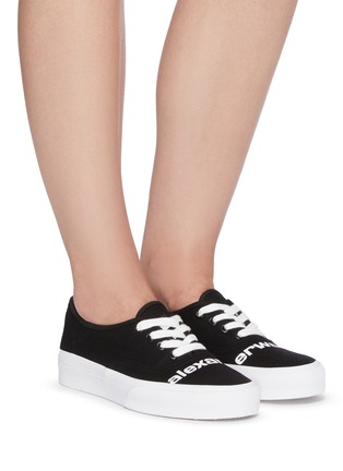 Figure View - Click To Enlarge - ALEXANDERWANG -  ''Dropout' logo print canvas sneakers