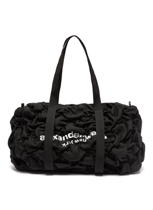 Main View - Click To Enlarge - ALEXANDERWANG - 'Rebound' Logo Print Diamond Quilt Ruched Nylon Backpack