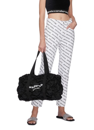 Figure View - Click To Enlarge - ALEXANDERWANG - 'Rebound' Logo Print Diamond Quilt Ruched Nylon Backpack