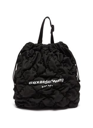 Main View - Click To Enlarge - ALEXANDERWANG - 'Rebound' Logo Print Diamond Quilt Ruched Nylon Duffle Bag