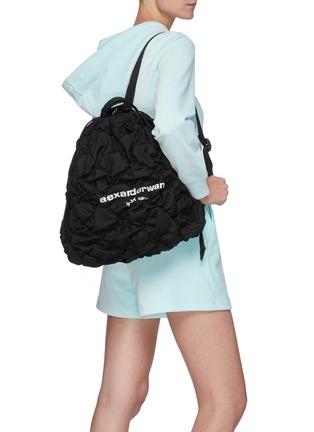 Figure View - Click To Enlarge - ALEXANDERWANG - 'Rebound' Logo Print Diamond Quilt Ruched Nylon Duffle Bag