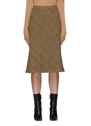 Main View - Click To Enlarge - MAISON MARGIELA - Houndstooth Wool Midi Skirt