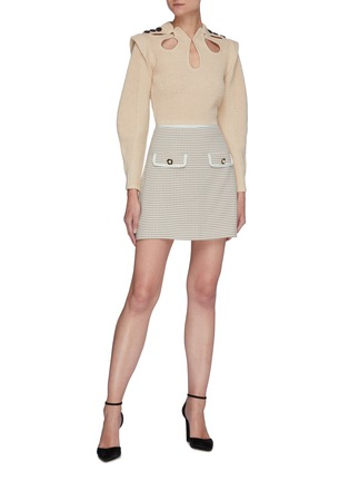 Figure View - Click To Enlarge - SELF-PORTRAIT - Flap Pocket Check Mini Skirt