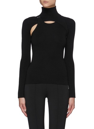 Main View - Click To Enlarge - DION LEE - Hybrid Detachable Shrug E-hook Detail Top