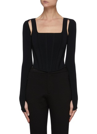 Main View - Click To Enlarge - DION LEE - Hybrid Detachable Shrug Tank Top
