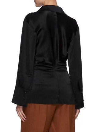 Back View - Click To Enlarge - NANUSHKA - Flare Sleeve Fitted Button-down Shirt