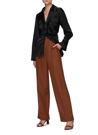 Figure View - Click To Enlarge - NANUSHKA - Flare Sleeve Fitted Button-down Shirt