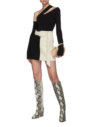 Figure View - Click To Enlarge - NANUSHKA - Belted Bi-tonal Cotton Mini Skirt