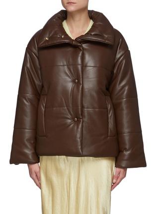 Main View - Click To Enlarge - NANUSHKA - Funnel Collar Vegan Leather Puffer Jacket
